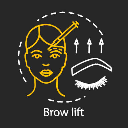 Brow lift chalk icon. Cosmetic lift procedures. Forehead lift. Rejuvenation. Forehead and brow skin raising. Plastic surgery center services. Isolated vector chalkboard illustration