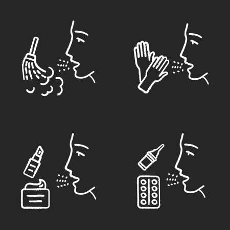 Allergies chalk icons set. Allergen sources and symptom treatment. Dust, latex, cosmetic sensitivity and medication. Allergic diseases. Medical health care. Isolated vector chalkboard illustrations