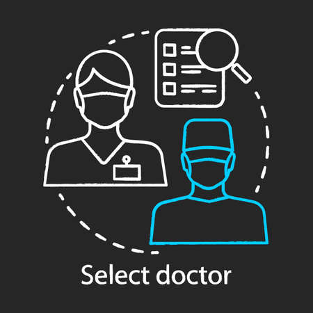 Select doctor chalk icon. Medical staff. Healthcare and medicine. Find specialist. General practitioner, therapist. Plastic surgery center. Isolated vector chalkboard illustration
