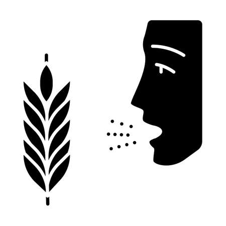 Wheat allergy glyph icon. Allergic asthma, rhinitis. Gluten intolerance. Hypersensitivity of immune system. Seasonal allergy. Silhouette symbol. Negative space. Vector isolated illustration