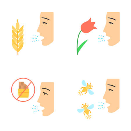 Allergies flat design long shadow color icons set. Hay fever, allergy to food and insects stings. Sensitivity of immune system. Allergen sources. Medical problem. Vector silhouette illustrations