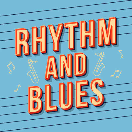 Rhythm and blues vintage 3d vector lettering. Retro bold font, typeface. Pop art stylized text. Old school style letters. 90s, 80s poster, banner, t shirt typography design. Baby blue color background