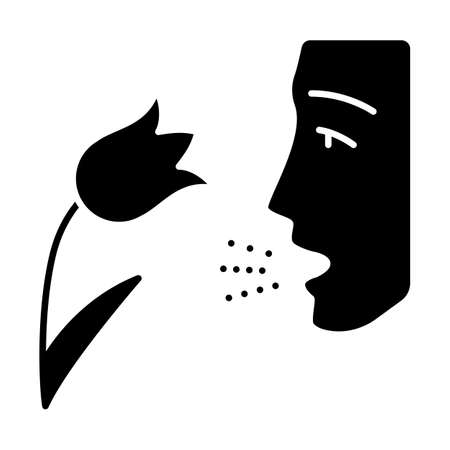 Pollen allergy glyph icon. Respiratory allergy. Hay fever. Allergic asthma, rhinitis cause. Seasonal disease. Inhalation of allergens. Silhouette symbol. Negative space. Vector isolated illustration