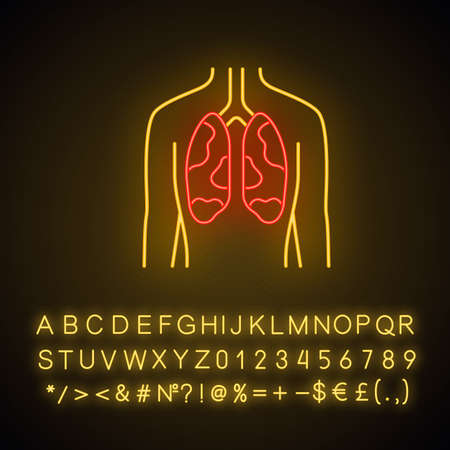 Ill lungs neon light icon. Sore human organ. Tuberculosis, cancer. Unhealthy pulmonary system. Respiratory health. Glowing sign with alphabet, numbers and symbols. Vector isolated illustration