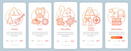 Family time together onboarding mobile app page screen with linear concepts. Zoo visiting. Five walkthrough steps graphic instructions. Sport and camping. UX, UI, GUI vector template, illustrations