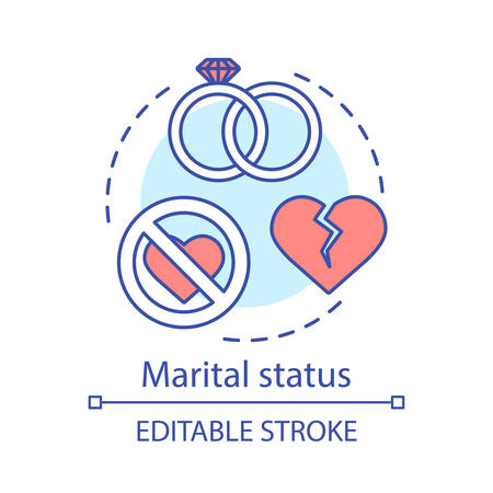 Marital status concept icon. Wedding rings, broken heart idea thin line illustration. Marriage, relationship breakup. Divorced,  single, married vector isolated outline drawing. Editable stroke