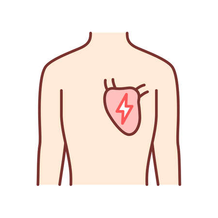 Ill heart color icon. Sore human organ. People disease. Unhealthy cardiovascular system. Sick internal body part. Physical health. Isolated vector illustration