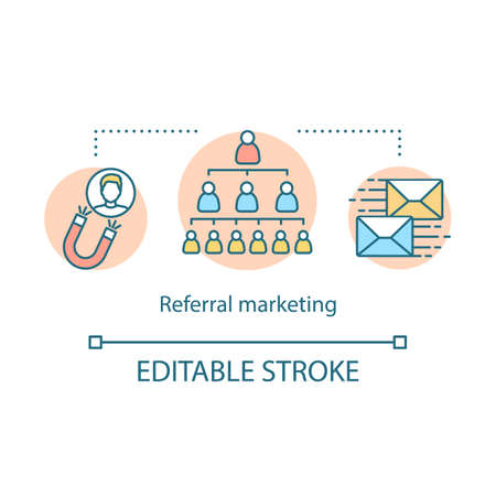 Referral marketing concept icon. Viral, influencer marketing tools idea thin line illustration. Customer attraction strategy. Word of mouth. Vector isolated outline drawing. Editable stroke