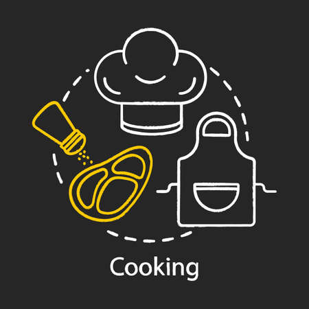 Cooking chalk concept icon. Family activities with kids idea. Indoor recreation.Steak cooking. Vector isolated outline drawing. Vector isolated chalkboard illustration