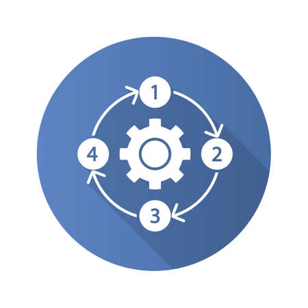 Process diagram flat design long shadow glyph icon.  PFD. Flowsheet. Continuous process map. Deployment flowchart. Step by step plan implementation. Moving in circle. Vector silhouette illustration
