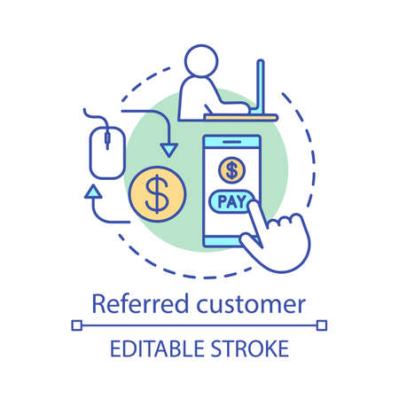 Referred customer concept icon. Referral marketing idea thin line illustration. PPC, customer attraction. Online paymetns. Vector isolated outline drawing. Editable stroke