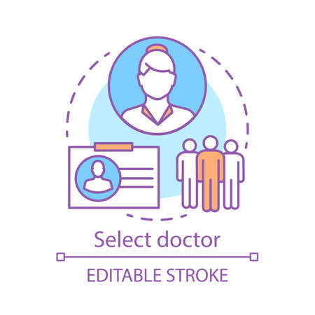 Select doctor concept icon. Medicine specialist idea thin line illustration. Hospital staff. Physician. Surgeon. Medical practitioner. Vector isolated outline drawing. Editable stroke Ilustração