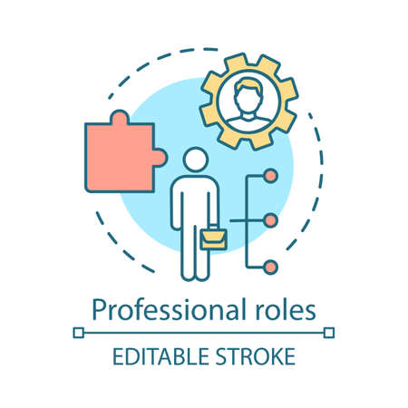 Professional roles concept icon. Functions, responsibilities and duties of profession member idea thin line illustration. Employer, employee. Vector isolated outline drawing. Editable stroke