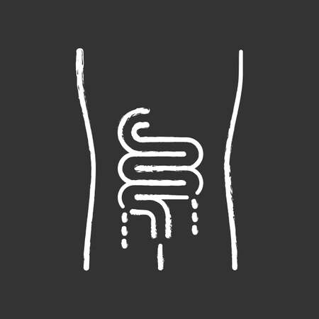 Ill intestines chalk icon. Sore human organ. People disease. Unhealthy digestive system. Sick internal body part. Gastrointestinal tract. Isolated vector chalkboard illustration