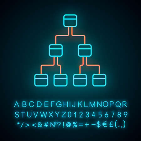 Tree diagram neon light icon. Hierarchical system. Node link diagram. Tree structure. Sequence and submission. Glowing sign with alphabet, numbers and symbols. Vector isolated illustration Çizim