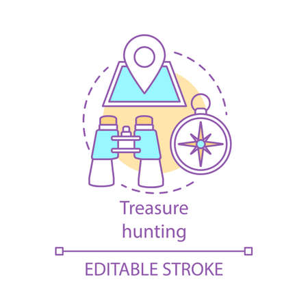Treasure hunting concept icon. Family time together idea thin line illustration. Geocaching. Physical search for treasure. Searching for retrieve artifacts. Vector isolated drawing. Editable stroke Illustration