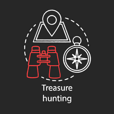 Treasure hunting chalk concept icon. Family time together idea. Geocaching. Physical search for treasure. Searching for retrieve artifacts. Vector isolated chalkboard illustration