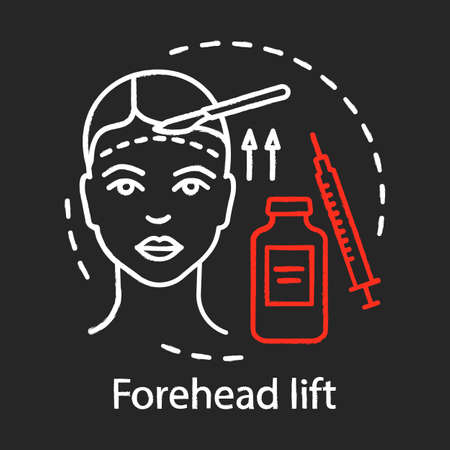 Forehead lift chalk icon. Reduce face wrinkle lines. Surgical procedure. Brow lift. Rejuvenation. Droopy eyelids. Medical instruments. Isolated vector chalkboard illustration