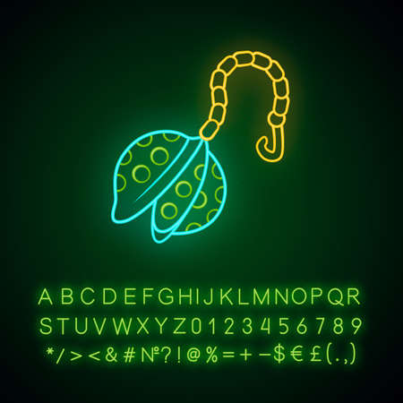 Reusable metal tea infuser neon light icon. Zero waste tea strainer, ball on chain Eco-friendly kitchen device. Glowing sign with alphabet, numbers and symbols. Vector isolated illustration Imagens - 129558505