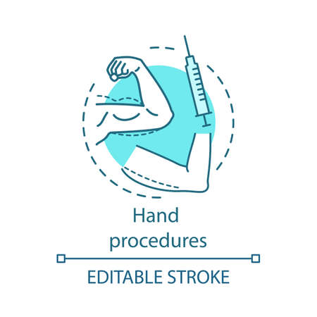 Hand procedures concept icon. Body contouring surgery idea thin line illustration. Lifting. Plastic surgery subspecialty. Vector isolated outline drawing. Editable stroke