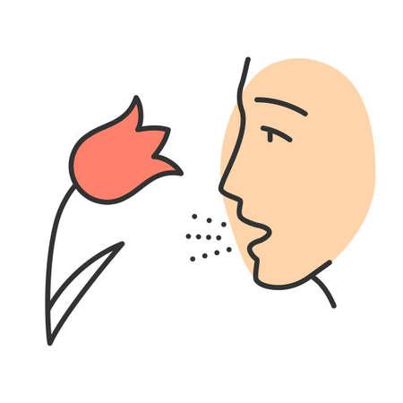 Icona di colore di allergia ai pollini. Allergia respiratoria. Febbre da fieno. Asma allergico, causa di rinite. Malattia stagionale. Inalazione di allergeni. Suscettibilità alle particelle sospese nell'aria. Illustrazione vettoriale isolato