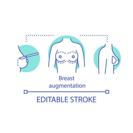Breast augmentation concept icon. Mammoplasty idea thin line illustration. Boob job. Breast implants and fat transfer. Plastic surgery. Vector isolated outline drawing. Editable stroke
