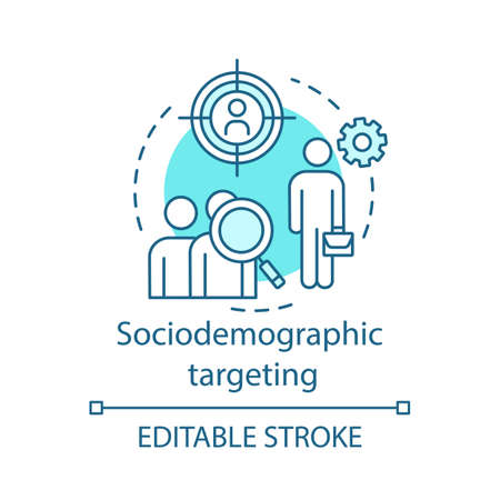 Sociodemographic targeting turquoise concept icon. User behavior idea thin line illustration. Behavioral analytics for marketing vector isolated outline drawing. Customer prediction. Editable stroke 일러스트