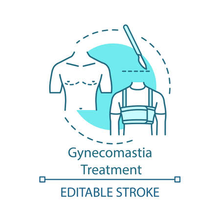 Gynecomastia treatment concept icon. Breast reduction idea thin line illustration. Male tissue. Surgical correction. Vector isolated outline drawing. Editable stroke