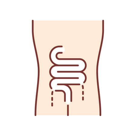 Ill intestines color icon. Sore human organ. People disease. Unhealthy digestive system. Sick internal body part. Gastrointestinal tract. Isolated vector illustration