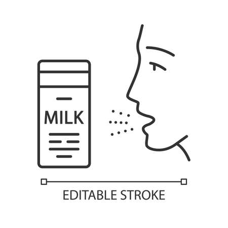 Milk allergy linear icon. Food allergy. Allergic reaction to milk proteins. Lactose intolerance. Thin line illustration. Contour symbol. Vector isolated outline drawing. Editable stroke