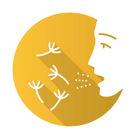 Summer allergy flat design long shadow glyph icon. Hay fever. Seasonal disease. Allergic reaction to pollen. Allergens inhalation. Susceptibility airborne particles. Vector silhouette illustration