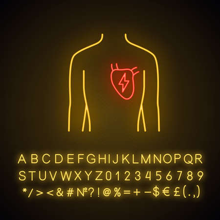 Ill heart  neon light icon. Sore human organ.  Unhealthy cardiovascular system. Physical health. Glowing sign with alphabet, numbers and symbols. Vector isolated illustration Illustration
