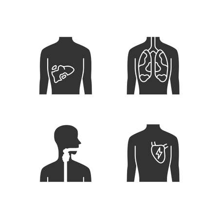 Ill human organs glyph icons set. Sore liver and lungs. Aching throat. Unhealthy heart. Sick internal body parts. Silhouette symbols. Vector isolated illustration