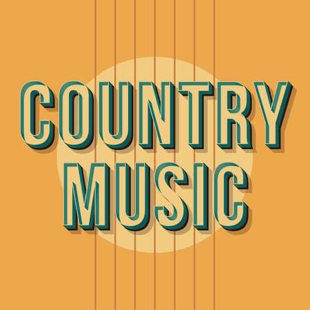 Country music vintage 3d vector lettering. Retro bold font, typeface. Pop art stylized text. Old school style letters. 90s, 80s poster, banner, t shirt typography design. Mellow color background