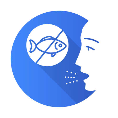 Fish allergy flat design long shadow glyph icon. Finned fish sensitivity. Hypersensitivity of immune system. Allergic disease. Food intolerance. Medical problem. Vector silhouette illustration