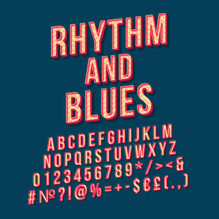Rhythm and blues vintage 3d vector lettering. Retro bold font, typeface. Pop art stylized text. Old school style letters, numbers, symbols pack. 90s, 80s poster, banner. Prussian color background Ilustrace