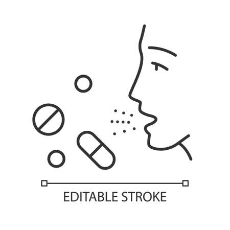 Drug allergies linear icon. Allergic reaction to medicine. Allergy medications. Medical problem. Thin line illustration. Contour symbol. Vector isolated outline drawing. Editable stroke Illustration