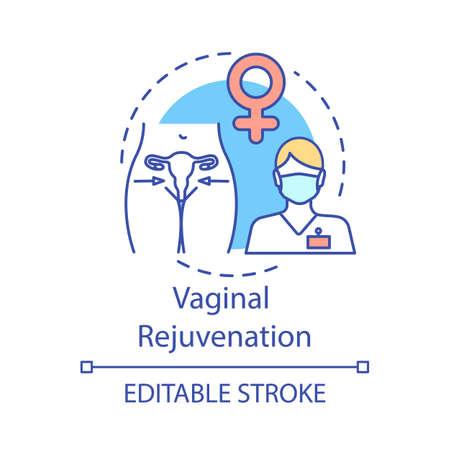 Vaginal rejuvenation concept icon. Female plastic surgery idea thin line illustration. Vaginal corrective treatments. Vector isolated outline drawing. Editable stroke