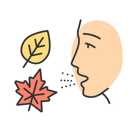 Fall allergy color icon. Seasonal allergy. Allergic reaction to ragweed, mold and dust mites. Hypersensitivity of immune system. Respiratory disease in autumn. Isolated vector illustration