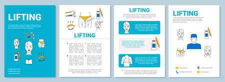 Lifting brochure template layout. Cosmetic surgical procedure. Flyer, booklet, leaflet print design with linear illustrations. Vector page layouts for magazines, annual reports, advertising posters
