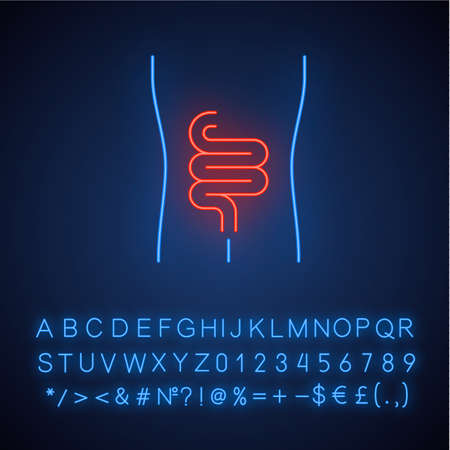 Healthy intestine neon light icon. Human organ in good health. Functioning digestive system. Gastrointestinal tract. Glowing sign with alphabet, numbers and symbols. Vector isolated illustration 免版税图像 - 129558528