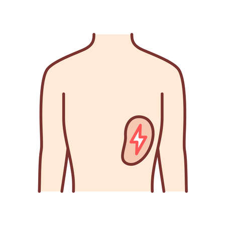 Ill spleen color icon. Sore human organ. People disease. Unhealthy lymphatic system. Sick internal body part. Immune system. Isolated vector illustration