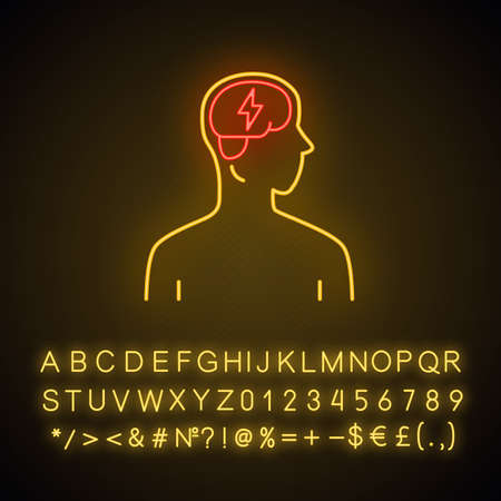 Ill brain neon light icon. Dementia, stroke. Sore human organ. Unhealthy nervous system. Mental health. Glowing sign with alphabet, numbers and symbols. Vector isolated illustration Ilustração