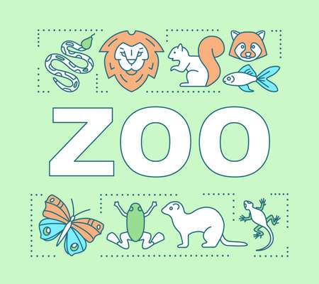 Zoo word concepts banner. Family time together. Animal park. Menagerie with wild animals. Presentation, website. Isolated lettering typography idea with linear icons. Vector outline illustration