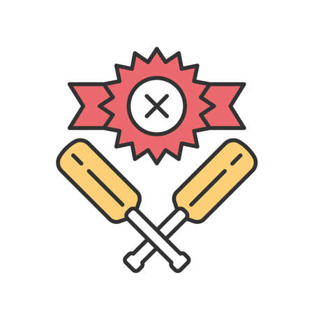Cricket defeat color icon. Total game result. Championship loss. Loser mark, crossed bats. Game over. Team battle finished. End of play. Match draw. Sports activity. Isolated vector illustration