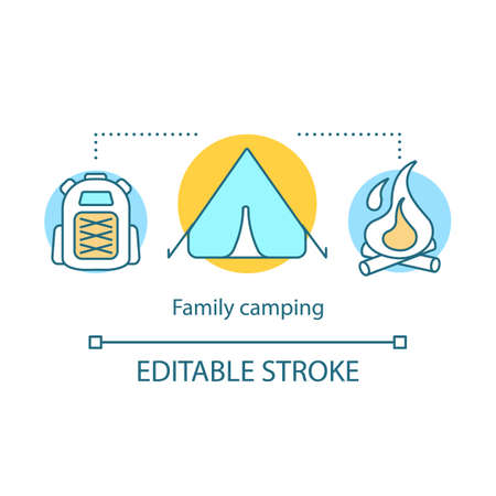 Family camping concept icon. Time together idea thin line illustration.  Family trip. Campfire. Overnight staying in tent. Outdoor accommodation. Vector isolated outline drawing. Editable stroke