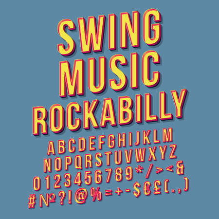 Swing music rockabilly vintage 3d vector lettering. Retro bold font, typeface. Pop art stylized text. Old school style letters, numbers pack. 90s, 80s poster, banner. Air force blue color background