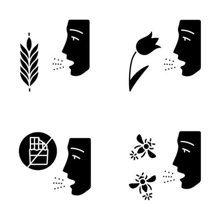 Allergies glyph icons set. Hay fever, allergy to food and insects stings. Sensitivity of immune system. Allergen sources. Medical problem. Silhouette symbols. Vector isolated illustration