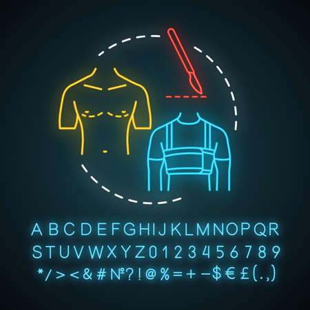Gynecomastia treatment neon light icon. Breast reduction idea thin line illustration. Surgical correction. Glowing sign with alphabet, numbers and symbols. Vector isolated illustration Ilustração