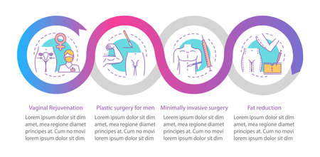 Plastic surgery center vector infographic template. Business presentation design elements. Data visualization with four steps and options. Process timeline chart. Workflow layout with linear icons